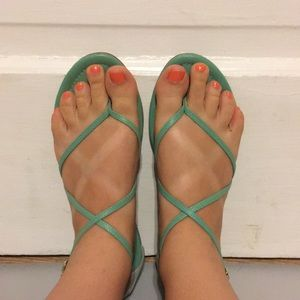 J. Crew leather Audra green mint thong sandals
